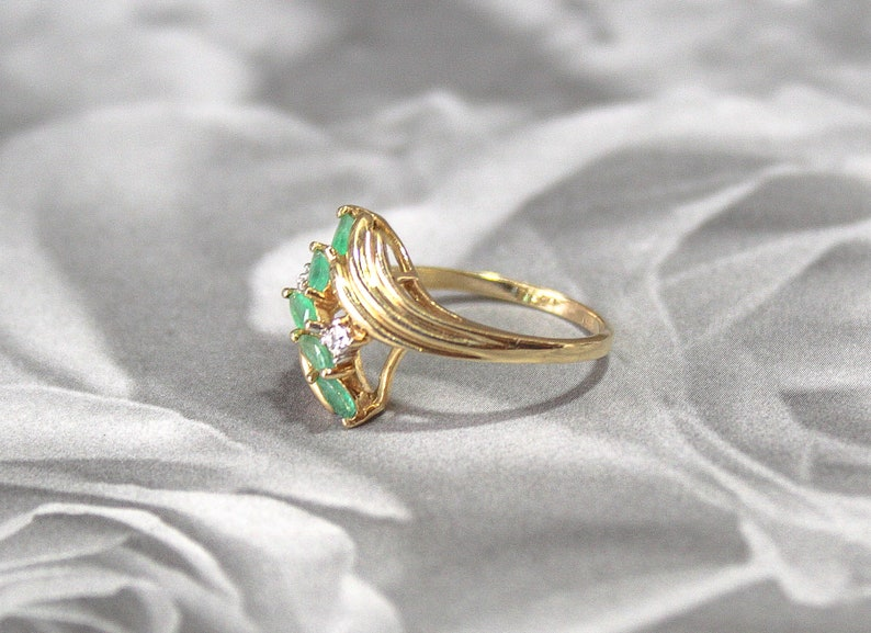 Taurus Zodiac Astrology 10k Gold Bypass Ring Gold Emerald Ring Size 7 with Diamond Accents May Birthday Birthstone