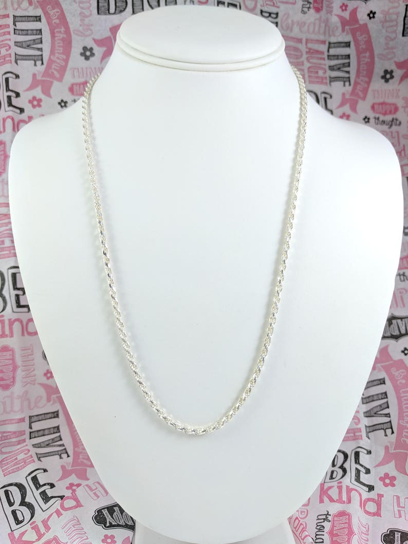 484e6ee6fd09 Sterling Silver Necklace Chain 22 Inch Chain 2.5 mm Round Rope