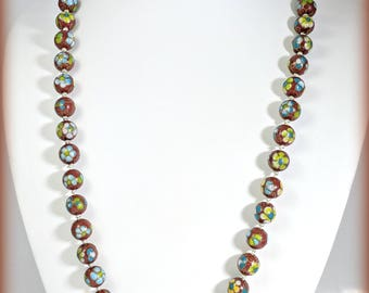 Vintage Chinese Import Enamel Floral Cloisonne Bead necklace 24 Inch Cinnabar Red Apple Green Sky Blue Sunshine Yellow Cloud White Fun2Wear