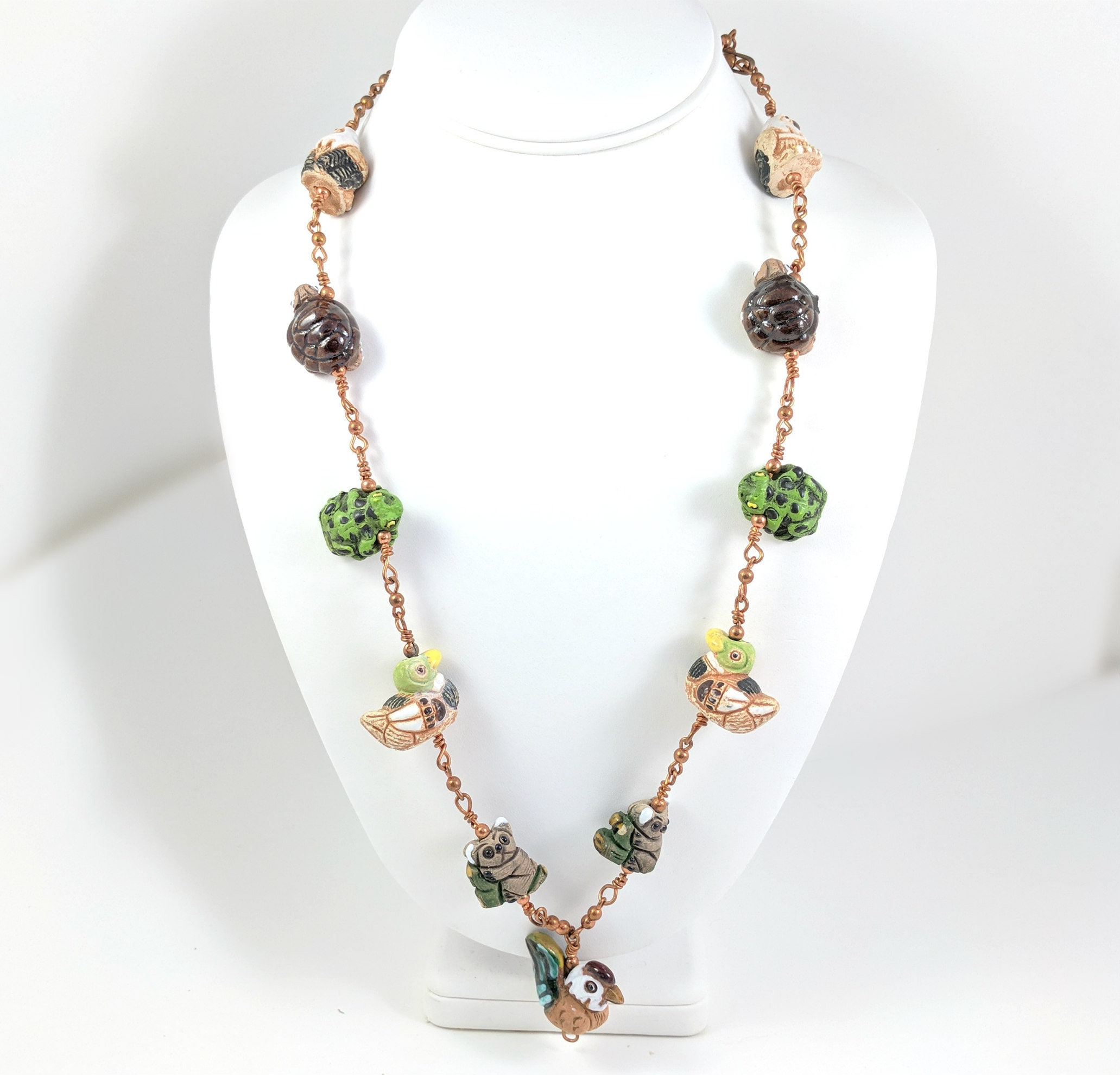 a8192c3bbeb4 Vintage Copper Necklace with Clay Beads Animal Shapes Eagles