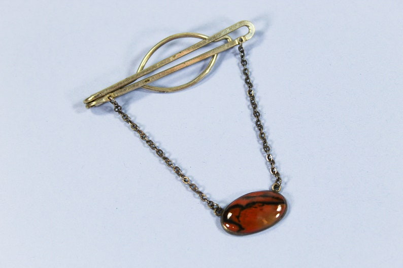 Silver Tie Clip with Chain Vintage Sterling Silver Tie Clasp with Chain Old Fashioned Tie Clip with Tie Chain Brown Polished Stone,