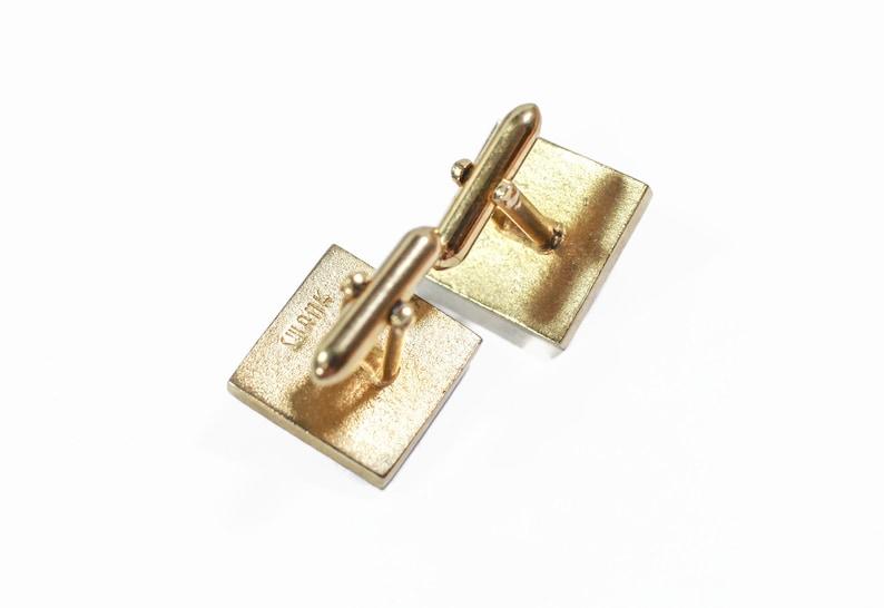 Dad Prankster Fun Whimsical Gift for Him SWANK Gold Tone Square Cufflinks One has a ScrewBall Graduate Vintage Screwball Cufflinks