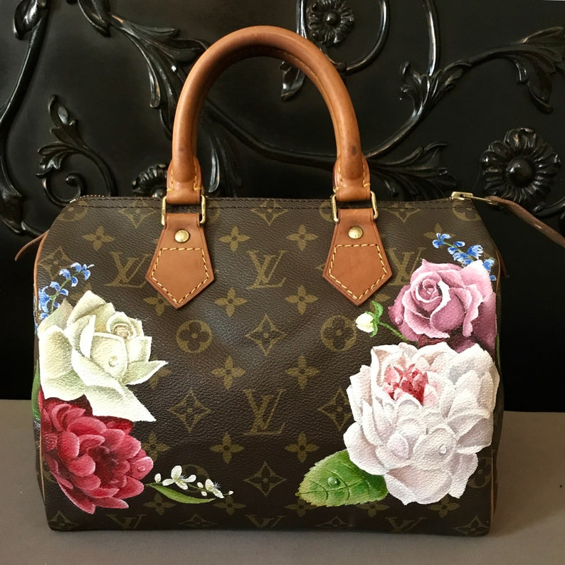 6af71359546d Hand painted Custom personalized Louis Vuitton handbag Flower
