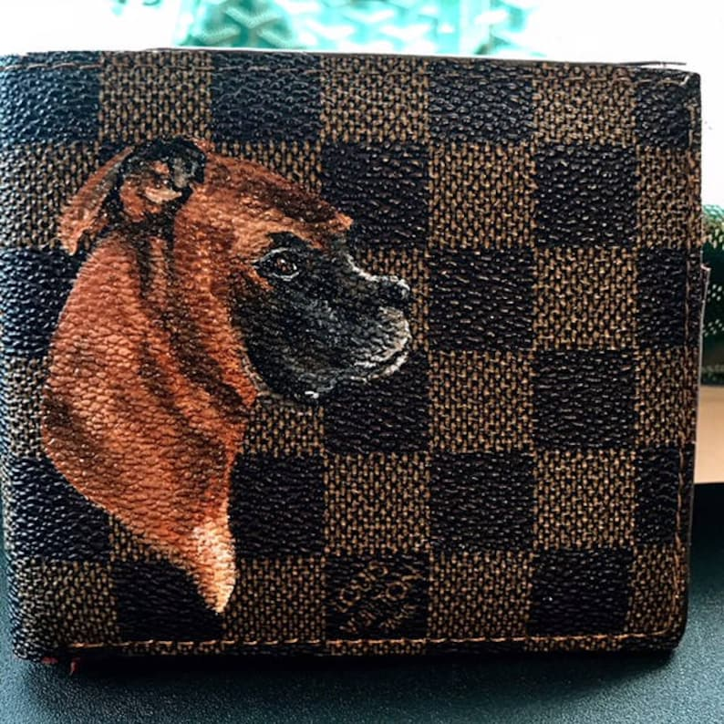 d5f271d00085 Custom Pet Portrait hand Painted Louis Vuitton wallet Handbag