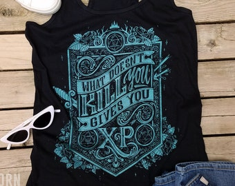 Dungeons and Dragons Tank Top | What doesn't kill you gives you XP DnD Tanktop | Dungeon Master Tank Top
