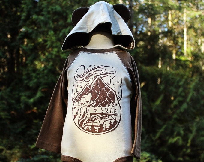 Wild and Free Hooded Baby Bodysuit with Ears | Mama Bear and Baby Bear Baby Coming Home Outfit | Gender Neutral Baby Gift