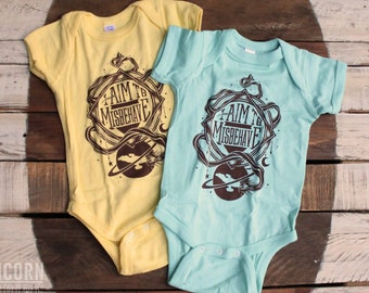 Firefly Baby Bodysuit & Toddler T-shirt | I Aim To Misbehave Serenity Bodysuit | Geeky Baby Gift in Butter Yellow