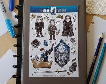 The Witcher Stickers | White Wolf Sticker Sheet | Geralt of Rivia Stickers