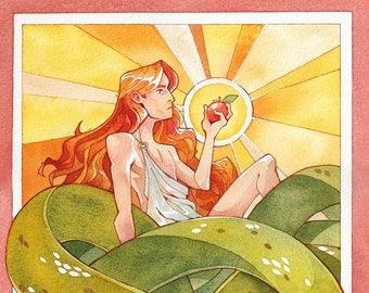 Good Omens Watercolor Art Print | Sunshine Crowley Stained glass print