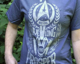 Live Long and Prosper Star Trek T-Shirt in Vintage Blue