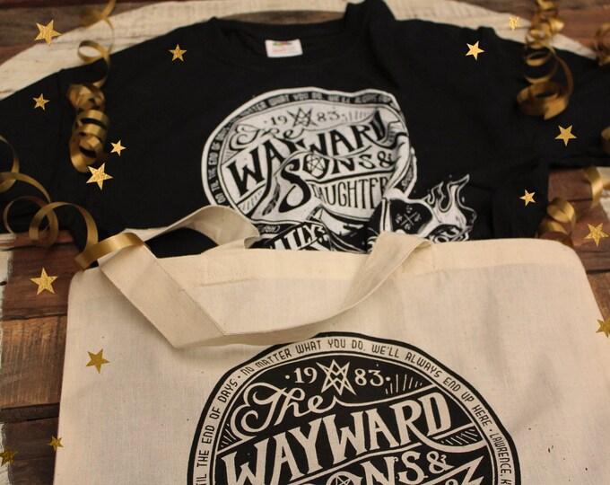 Wayward Sons Supernatural Gift Set | Wayward Sons and Daughters Supernatural T-Shirt & Tote Bag | Sam and Dean Winchester shirt