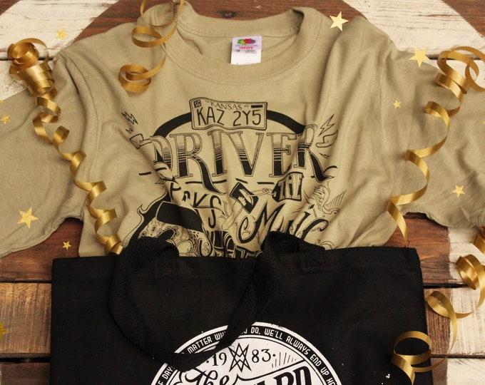 Driver Picks The Music Supernatural Shirt Gift Set | Dean Winchester Supernatural T-Shirt & Wayward Sons Tote Bag