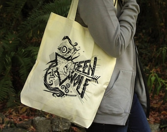 Final Print Run | Teen Wolf Bag  | Teen Wolf Tote Bag | Teen Wolf Howling Wolf Hand Screen Printed Bag