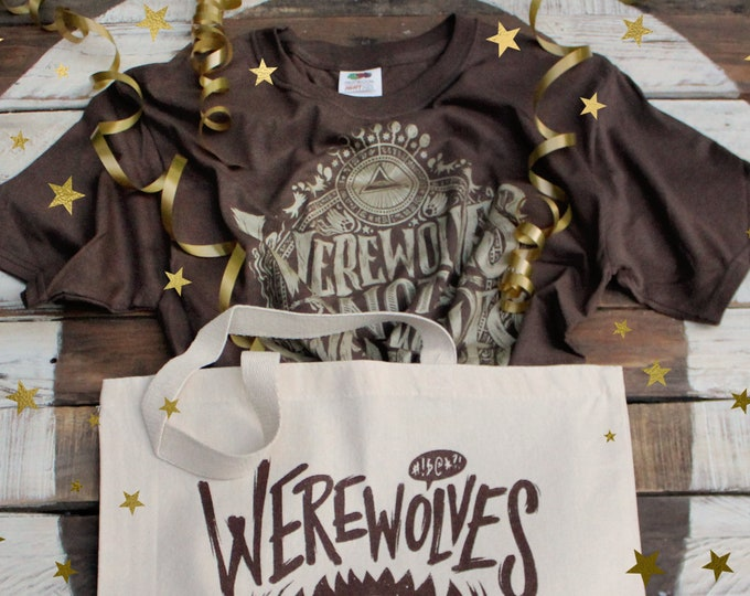 Werewolves Not Swearwolves Gift Set | What We Do In The Shadows Shirt and Tote Bag  | Brown & Gold Werewolves Not Swearwolves T-Shirt