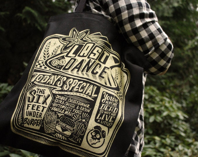 Last Dance Diner Tote Bag  | Gold and Black Sparrow Hill Road Book Bag | Seanan McGuire Inspired Book Bag