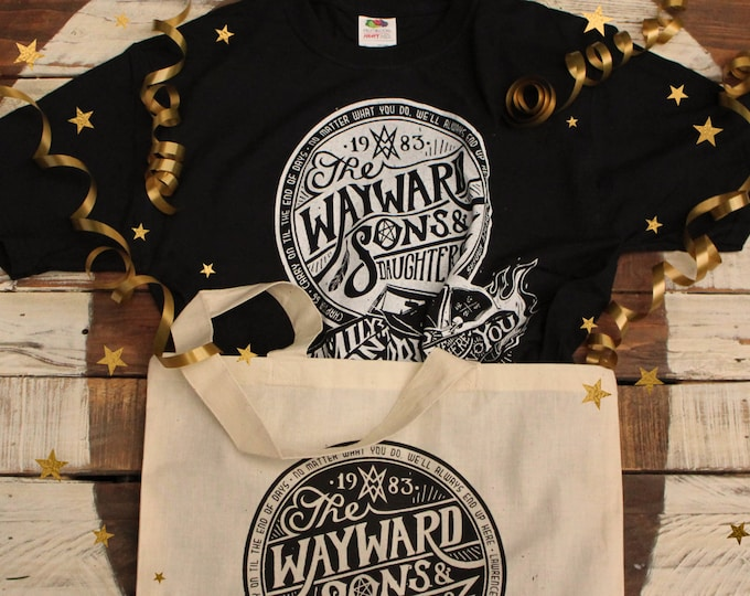 Wayward Sons Supernatural Gift Set | Wayward Sons and Daughters Supernatural T-Shirt & Tote Bag | Sam and Dean Winchester shirt
