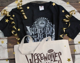 Werewolves Not Swearwolves Gift Set | What We Do In The Shadows Shirt and Tote Bag  | Black & Silver Werewolves Not Swearwolves T-Shirt