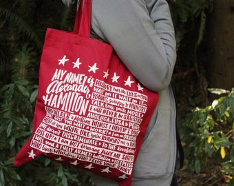 Red Alexander Hamilton Tote Bag