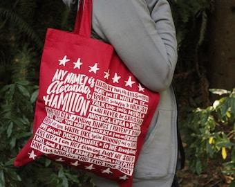 Red Alexander Hamilton Tote Bag