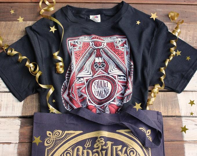Good Omens Gift Set | Aziraphale and Crowley Shirt & Tote Bag