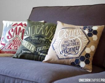 Supernatural Pillows   Supernatural Home Decor   Supernatural Throw Pillow Covers   Sam and Dean Winchester Pillow   Castiel Pillow   Impala