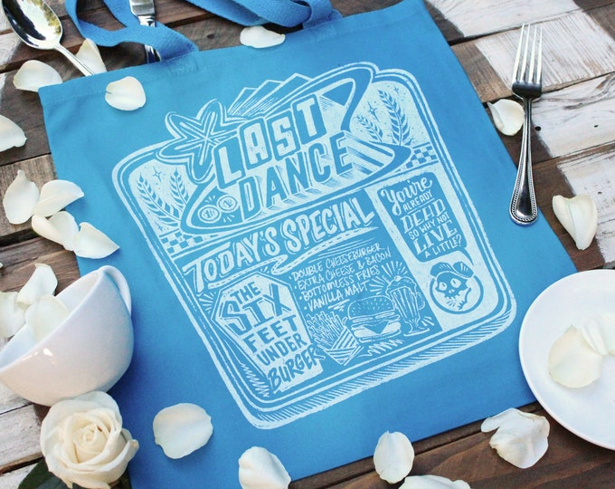 Last Dance Diner Tote Bag  | Blue and White Sparrow Hill Road Book Bag | Seanan McGuire Inspired Book Bag