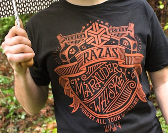 Dark Matter Shirt | Raza's Marauder Whiskey Dark Matter T-Shirt | Hand Screen Printed Shirt | Scifi Shirt