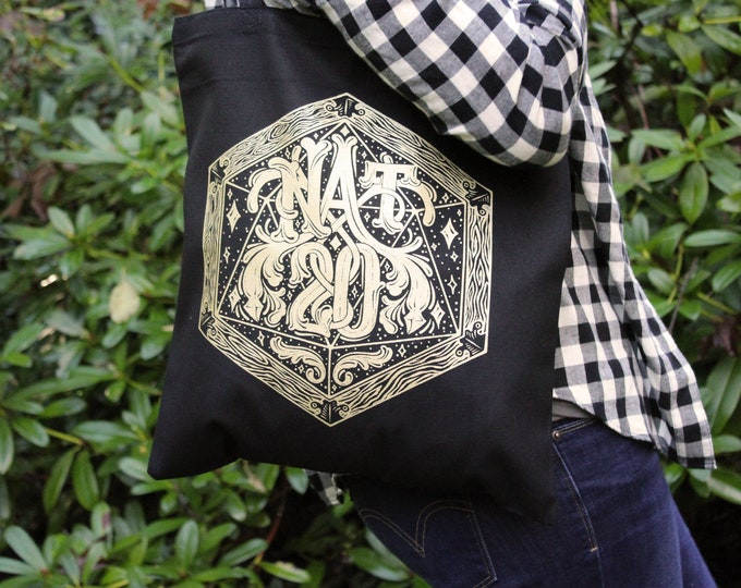 Natural 20 Dungeons and Dragons Tote Bag | A bag for holding for all your DnD books and dice