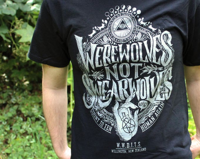 Werewolves Not Swearwolves Shirt | What We Do In The Shadows Shirt | Black & Silver or Brown and Gold What We Do In The Shadows T-Shirt