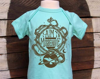 I Aim To Misbehave! Firefly Baby Bodysuits and Toddler Tees in Chill Blue