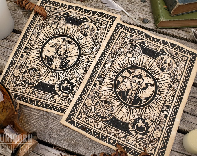 Good Omens Art Print |  Illuminated Manuscript Crowley & Aziraphale | 8 x 10