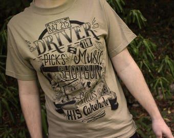 Supernatural Shirt | Dean Winchester Supernatural T-Shirt | Driver Picks The Music  T-Shirt | Available in Plus Sizes | Khaki