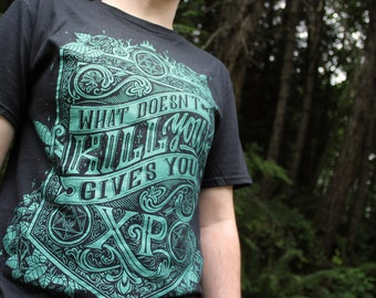 Dungeons and Dragons Shirt   DnD What doesn't kill you gives you XP   Dungeon Master Shirt