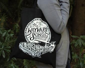 Supernatural Bag | Wayward Sons and Daughters Tote Bag | Sam and Dean Winchester Bag | Hand Screen Printed