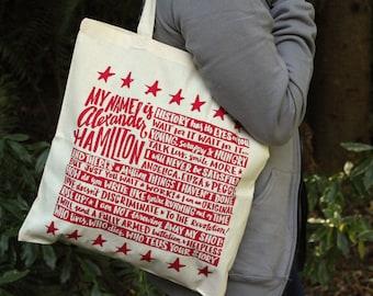 Hamilton Tote Bag | Alexander Hamilton Quote Bag | Broadway Musical Theater Lyrics Tote Bag