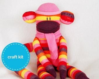 300bf3f0 Sock Monkey Craft Kit - Purple, Pink and Yellow strips, DIY Kits