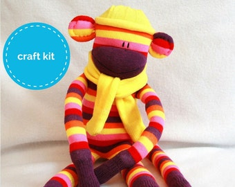 68e5bfdd Sock Monkey Craft Kit - Purple, Pink and Yellow strips with Yellow Hat DIY  Kits