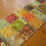 Quilted Table Runner Batik Fall Table Runner Handmade Table Quilt Quilted Runner Autumn Color Handmade Gift Kitchen Decor