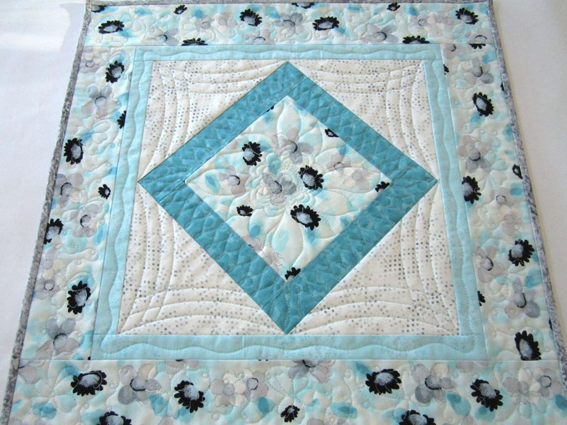 Table Topper Aqua Quilted Floral Handmade Table Quilt Gift