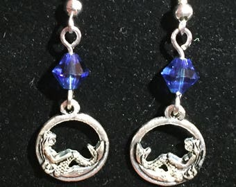 Mermaid Earrings with Sapphire Swarovski Crystal Accent Bead