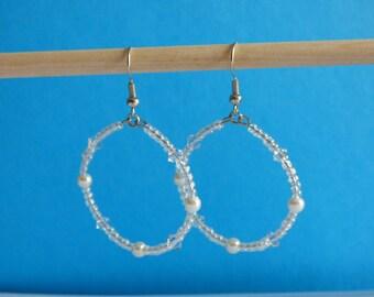 Bridal Swarovski Crystal, glass pearl and glass seed bead hoop earrings
