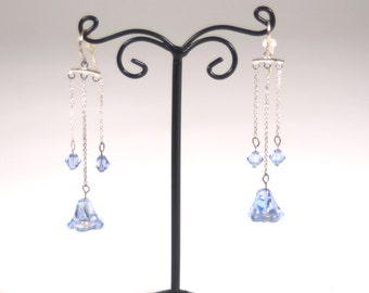 Bluebell Dangle Earrings with Swarovski Crystals and Sterling
