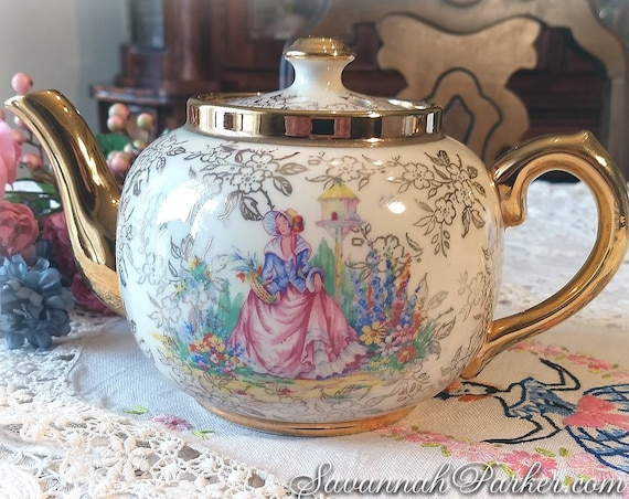 Lovely Vintage Antique Sudlows Burslem Pink and Blue Crinoline Lady Teapot, Gold Chintz, Unused Condition, Pink Blue Gold Shabby Chic Decor