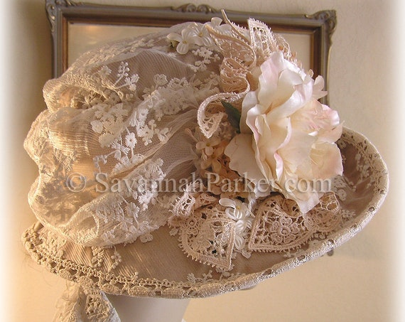 Antique Style 1920s Gatsby Downton Abbey Silk Hat Peaches and Cream Lace & Vintage Silk Flowers Wedding
