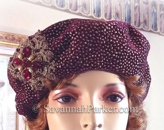 1920s French Metallic Silk Velvet Renaissance Beret, Tam Hat, Wine Silk Velvet French Bohemian Hat, Garnet Beadwork, Beret