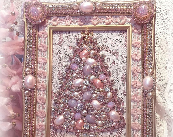EXQUISITE Jeweled Pink Christmas Tree Picture, Vintage Jeweled Frame, Victorian Romantic Pink Shabby Chic, Antique Lace, Pink Pearls Opals