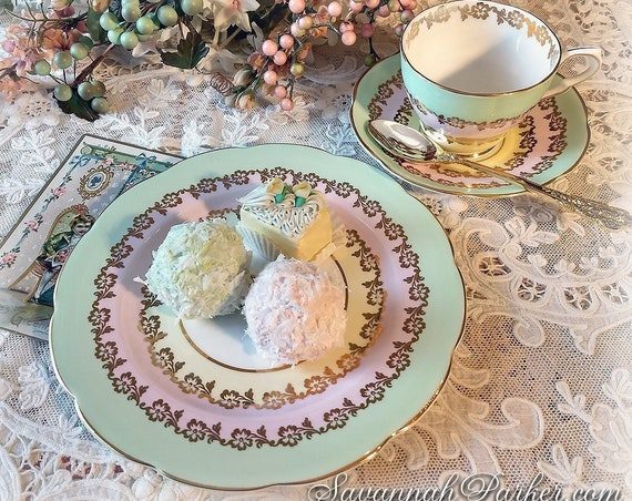 Delicious Ice Cream Pastels Vintage Bone China Tea Trio, Collingwoods England Bone China, Cup, Saucer, Luncheon Plate, Pink Mint and Lemon