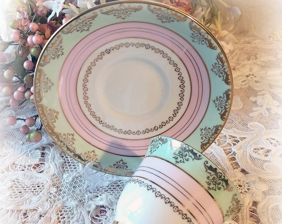 Dainty Pale Pink and Mint Vintage English Bone China Set, Royal Stafford Bone China, Cup and Saucer, Ice Cream Colors, Shabby Chic Decor