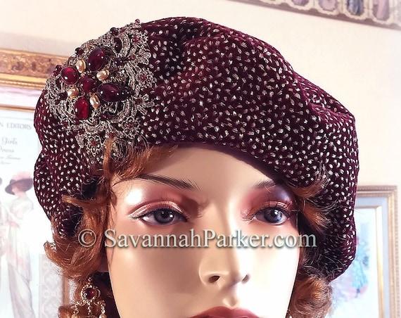 1920s French Metallic Silk Velvet Renaissance Beret, Ready to Ship, Tam Hat, Wine Silk Velvet French Bohemian Hat, Garnet Beadwork, Beret