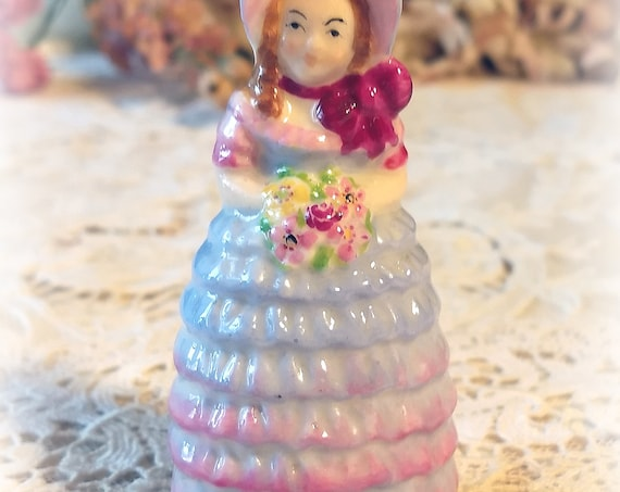 "EXTRA RARE Vintage Antique W.H. Goss Handpainted Miniature Porcelain Crinoline Lady Shaker Figurine, ""Bridesmaid"", Blue Shabby Chic Decor"